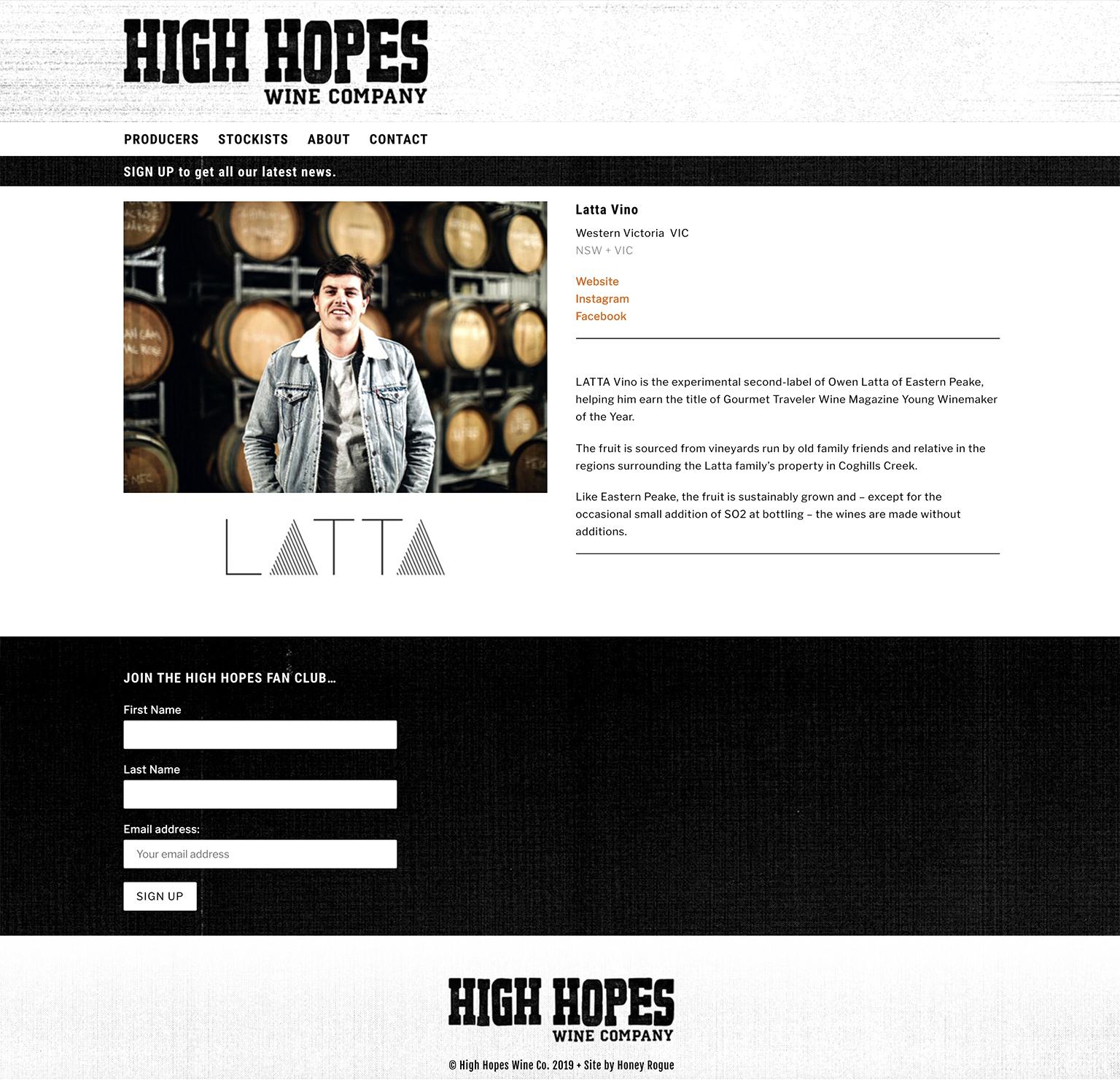 Honey Rogue Design Branding High Hopes Wine Company