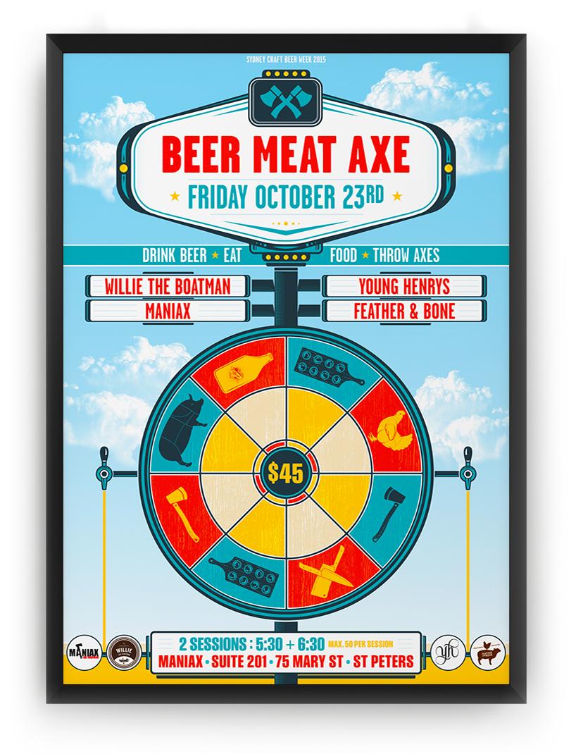 Honey Rogue Design Poster Sydney Craft Beer Week Beer Meat Axe