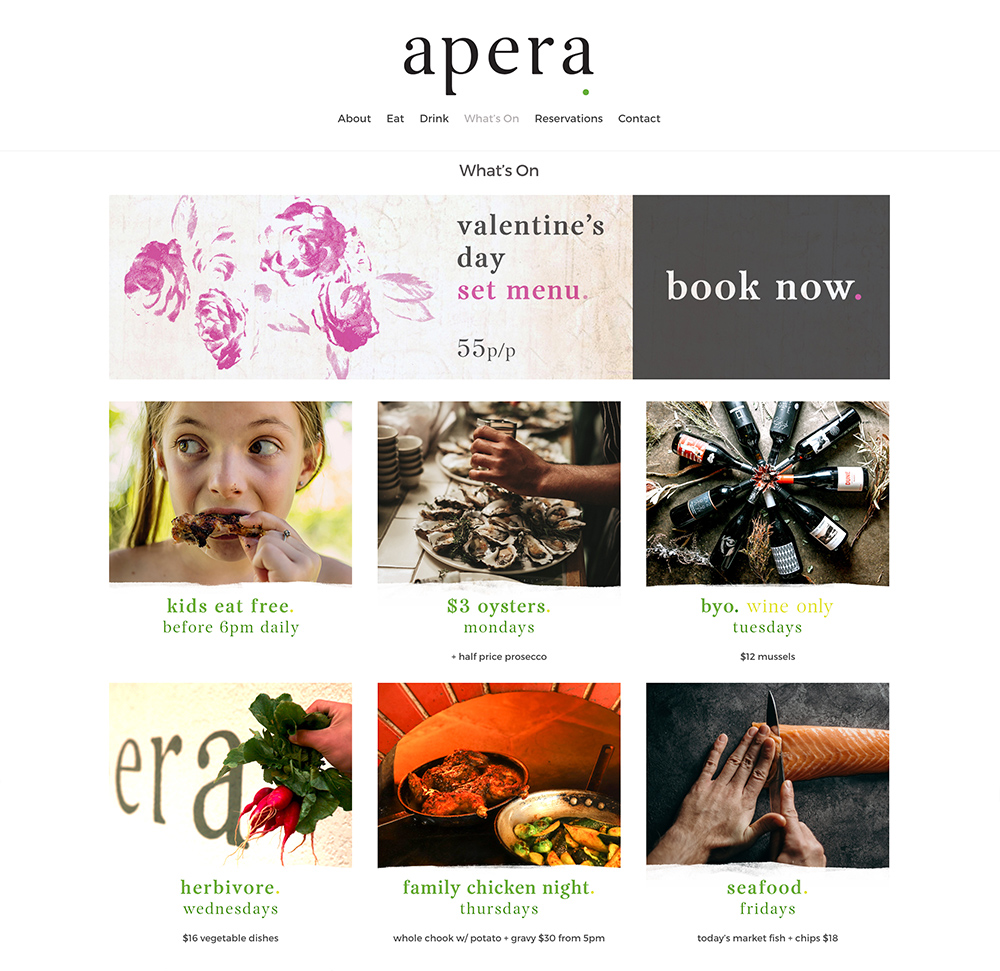 Honey Rogue Design Apera Restaurant Website