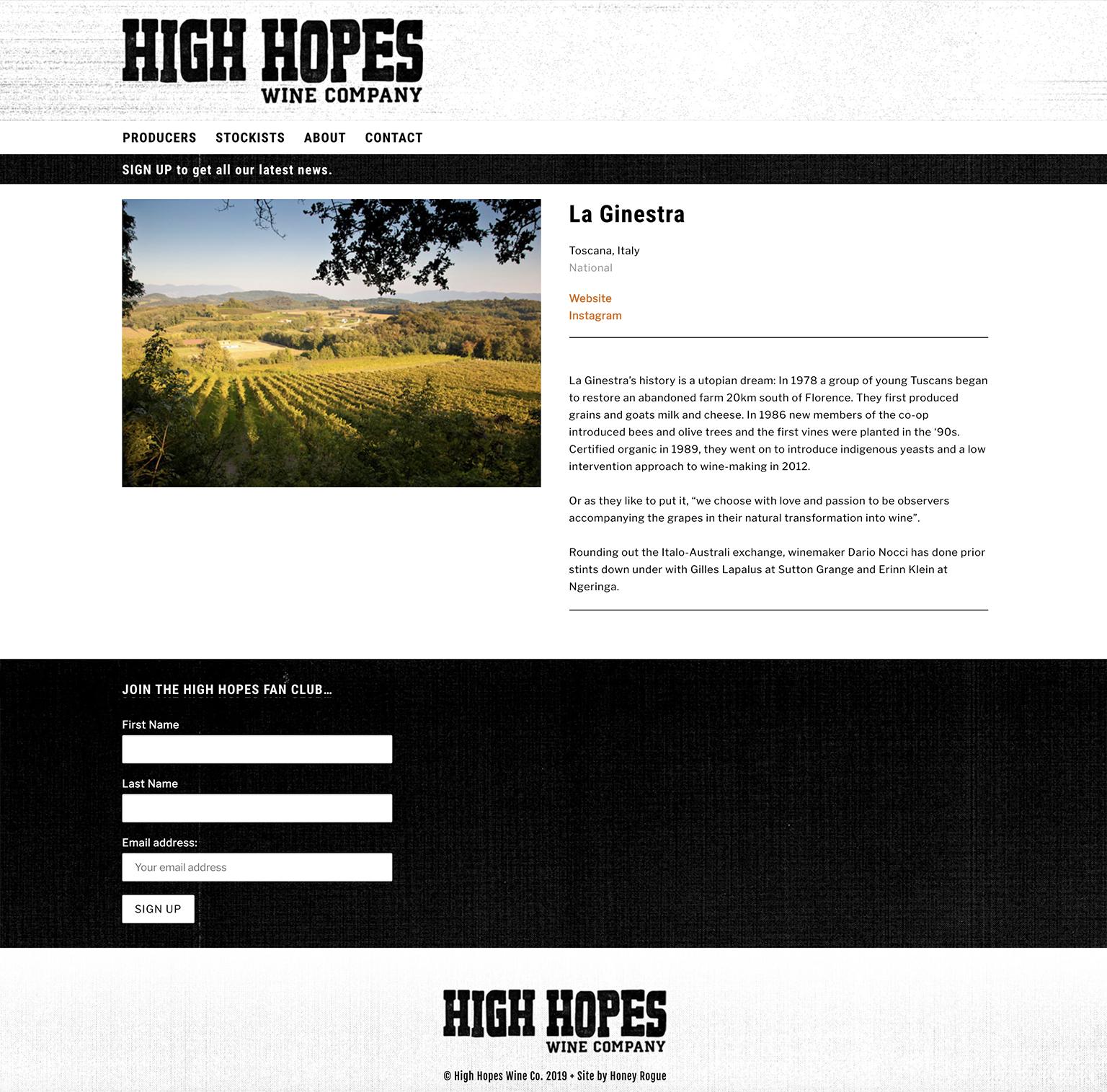Honey Rogue Design High Hopes Wine Co Website