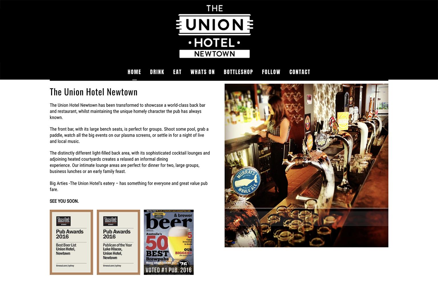 Honey Rogue Design Union Hotel Newtown Website